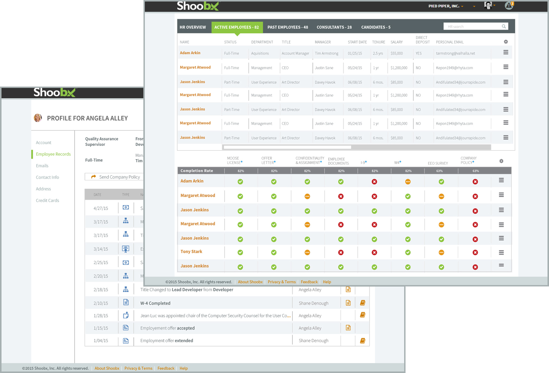 Human resources management screen